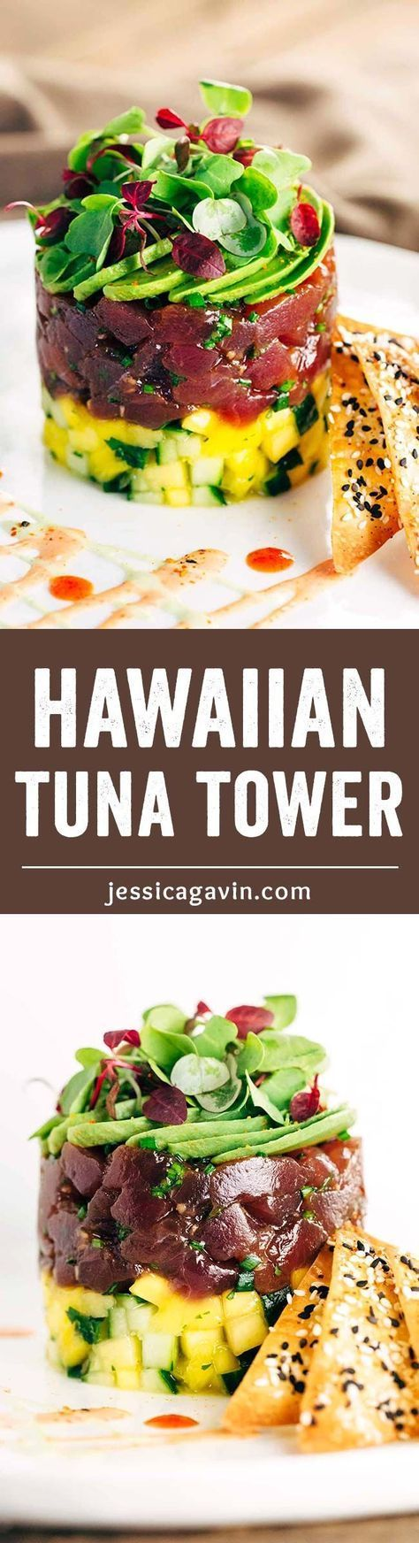 Hawaiian Bigeye Tuna Tower with Sesame Wonton Crisps - Simple yet elegant recipe combines bold flavors of the delectable ahi tuna with the crunchy baked spiced crackers. | jessicagavin.com