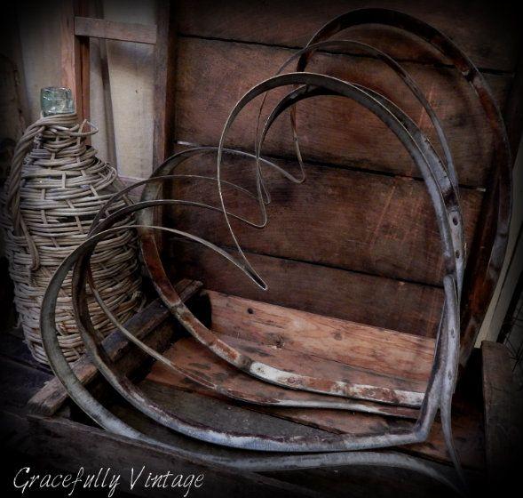 Rusty metal hearts
