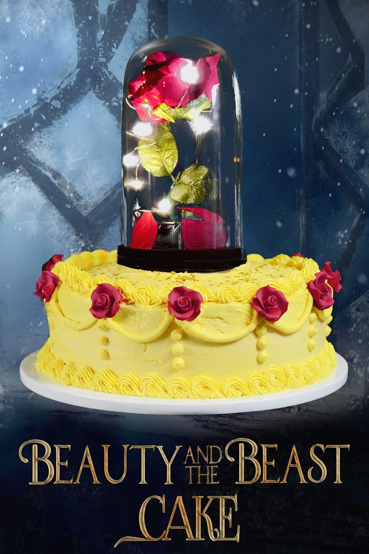 This Beauty and the Beast Cake is just gorgeous and has real lights inside of a glass dome! Perfect cake for a Beauty and the Beast Movie themed party!