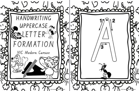 FONT OPTION | Year 1 Handwriting | UPPERCASE Letter Formation | Charts | VIC Modern Cursive
