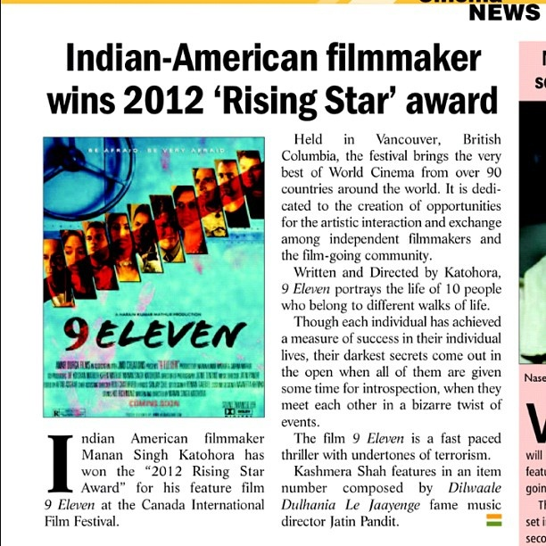 """The People's Film Festival's closing night film """"9 Eleven"""" was acknowledged by the Indian Embassy in its Washington DC publication Check it out Saturday May 19th at 9:45pm at The Maysles Cinema in Harlem Get your tickets @ http://thepeoplesfilmfestival.ticketbud.com/tpff . Don't wait until Saturday to purchase tickets, tickets for this film is almost sold out. http://instagr.am/p/KmFASpTYUh/: Film Festivals, Festivals Close, Festival Close"""