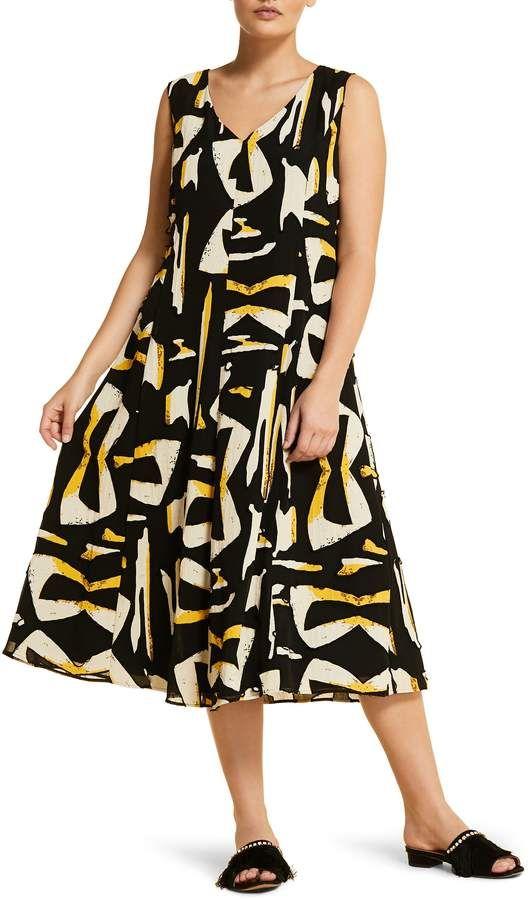 d8739dee8 Plus Size Women's Marina Rinaldi Docile Midi Dress, Size 14W - Black ...