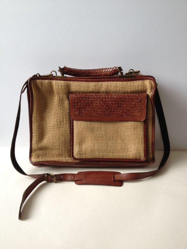 Vintage Leather Messenger Bag/ Leather Messenger/ Jute and Leather Briefcase/ Briefcase/ Brown Leather Briefcase/ Laptop Bag/ Plaited Leathe by Tukvintage on Etsy