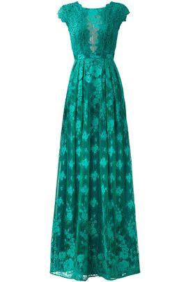 Green Floral Lace Gown by ML Monique Lhuillier
