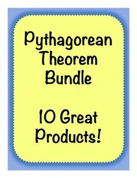 This GREAT Pythagorean Theorem bundle includes-Pythagorean Theorem Graph Paper Discovery Activity,  Pythagorean Theorem Amazing Race QR Code Activity,  Pythagorean Theorem with Models Puzzle Riddle Activity,  Pythagorean Triples Activity,  Square Roots and Pythagorean Theorem Board Game,  Pythagorean Theorem with Models Exit Ticket,  Applications of the Pythagorean Theorem Word Problems PLUS Spiral Review,  Pythagorean Theorem Word Problem Stations,  Pythagorean Theorem Notes with Word…