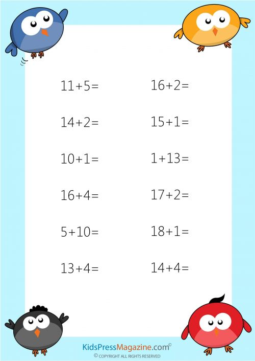 Easy Addition Worksheet – #2  #easy #addition #sum #to #20