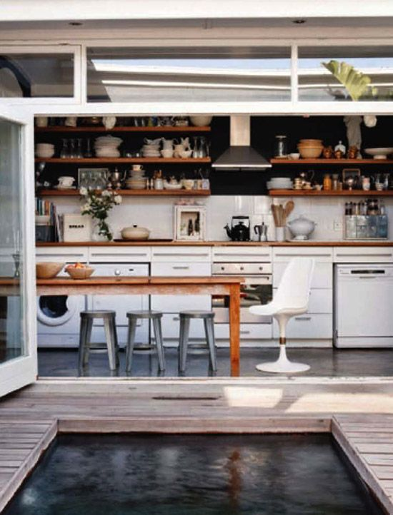 House & Leisure (photo by Micky Hoyle): Indooroutdoor, Idea, Open Shelves, Indoor Outdoor, Outdoor Kitchens, House, Hot Tubs, Open Kitchens, Pools