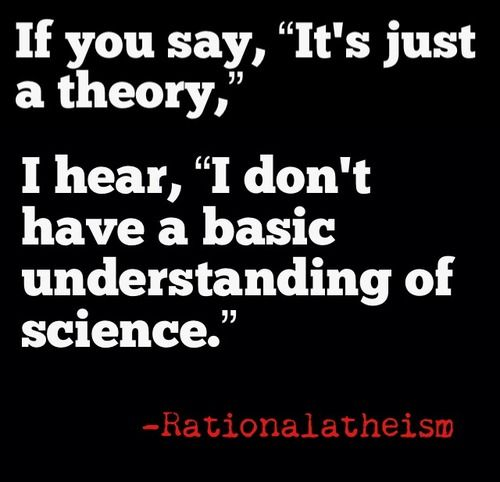"Will you all PLEASE learn what the word ""theory"" really means?!"