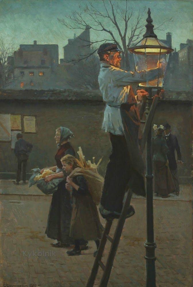 The Lamplighter by Erik Ludvig Henningsen (Danish, 1855 - 1930)