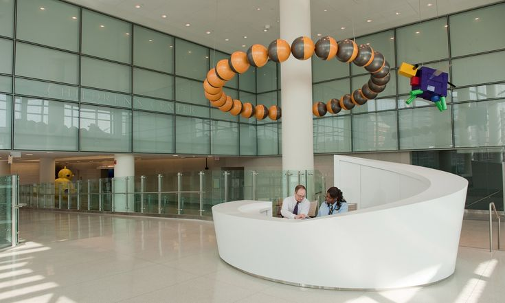 Funky curved reception desk