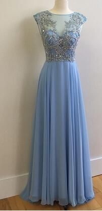 2017 prom dress, light blue long prom dress, evening dress
