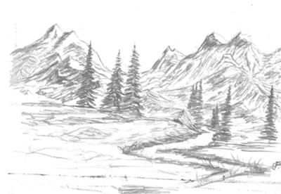 Hi,  I love sketching these types of mountains scenes incorporating water and evergreen trees. I have been concentrating on adding more detail into my