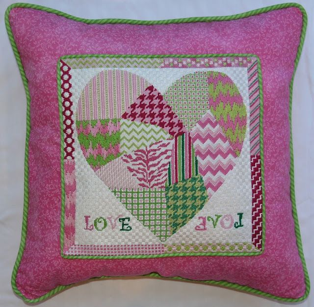 LOVE pillow stitched by Marjorie, customer of The Nimble Needle, Atlanta, GA. What gorgeous finishing!     Two coordinating shell des...