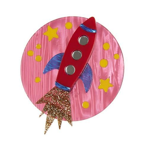 """Erstwilder Limited Edition Blast Off! Brooch. """"To boldly go where only a select few have gone before. The view is quite amazing from this red rocket's glare."""""""