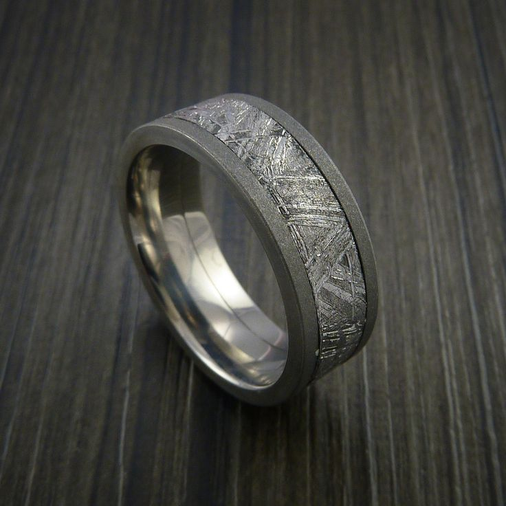 Gibeon Meteorite in Titanium Wedding Band Made to any Sizing and Width - Revolution Jewelry  - 1