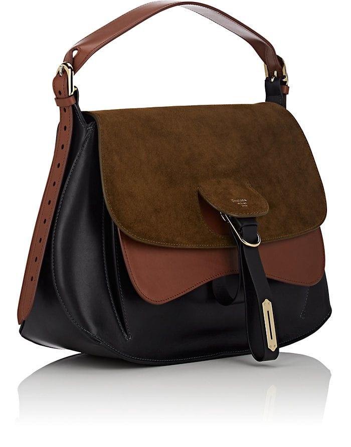 Fontana Milano 1915 Wight Medium Leather   Suede Saddle Hobo Bag - Grn.  Pat. 1 Sz Brown 8812b53e5