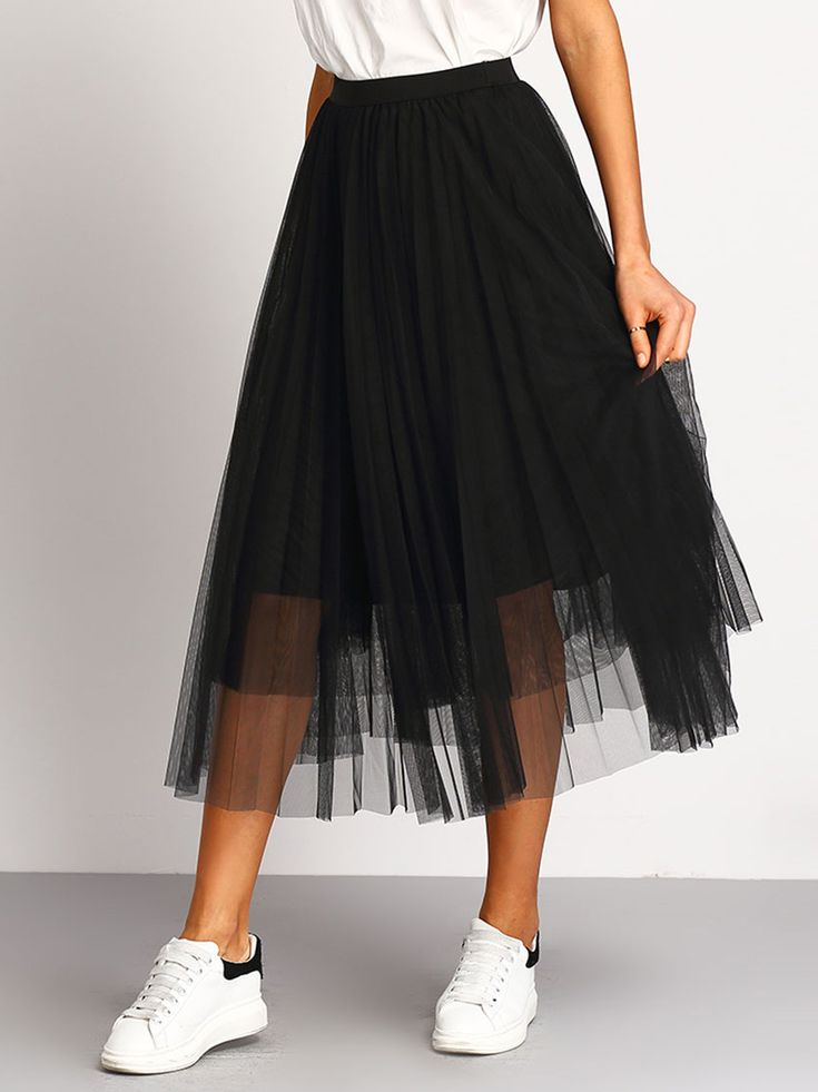 Black+Mesh+Pleated+Elastic+Waist+Skirt+21.99