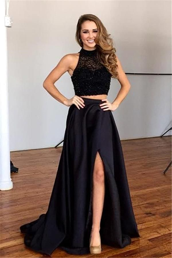 Two Pieces Evening Dresses Wear 2016 High Neck Crystal Beads Black Satin Split Long Formal Plus Size Prom Dress Party Gowns Online with $139.27/Piece on Yes_mrs's Store | DHgate.com
