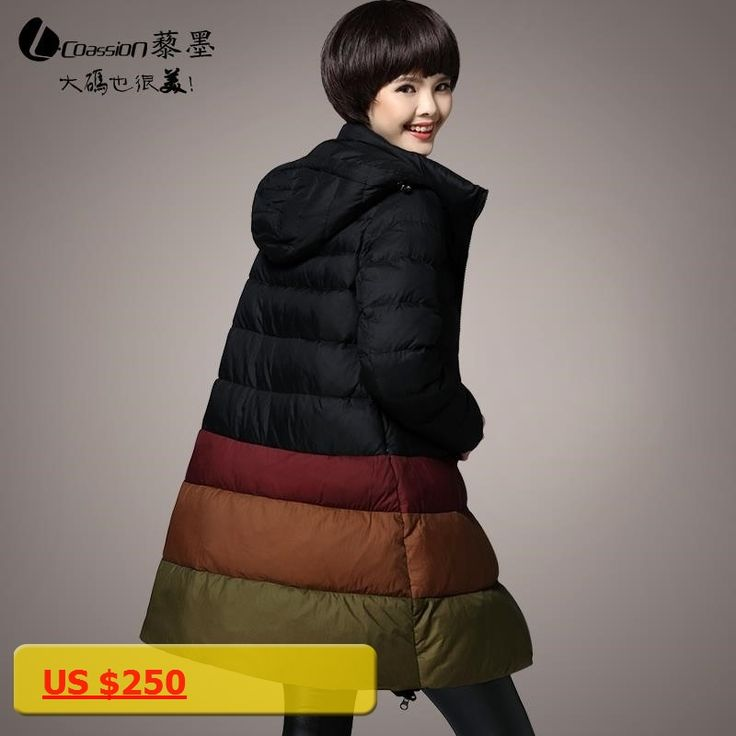 Large Size XL-5XL Womens Down Jackets New 2017 A-line Medium Long Warm Winter Coat Hooded Loose Casual Parka Femme