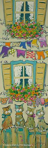 Claudette Castonguay, 'Les lundis chez Félix...', 8'' x 24'' | Galerie d'art - Au P'tit Bonheur - Art Gallery