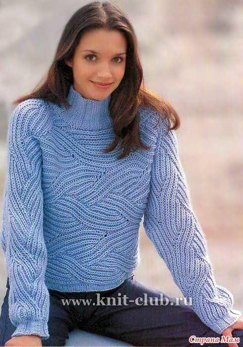 Согласитесь, очень красивый пуловер! описание и схемы нашла здесь http://www.knit-club.ru/ Размеры 34 - 36 и 40 - 42 Данные для больших размеров о скобках.