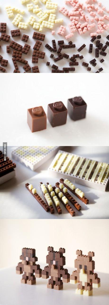 The designer Akihiro Mizuuchi creates edible chocolate LEGO bricks! I need this!