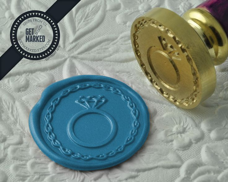 Engagement Ring - Wax Seal Stamp by Get Marked - Wedding Collection (WS0180).    The stamp is ideal for wedding, engagement party and bridal shower invitations. #GetMarked, #waxsealstamp, #waxseal, #wax, #wedding, #invitation