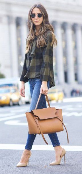 #winter #fashion /  Green Print Blouse // Skinny Jeans // Camel Leather Bag // Nude Pumps