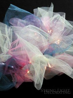 Tying tulle or ribbon to string lights