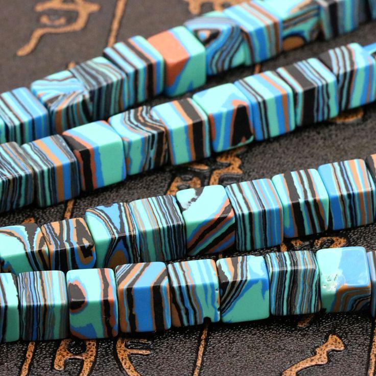 Синий полоса малахит Турция Камень блок форма 8x8 мм loose бусы 15 ''DIY ювелирные изделия оптом, подходит что делает украшения