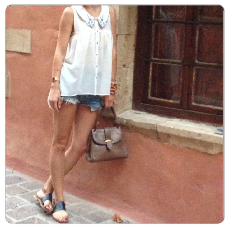 Outfit of Day 29/7  #prismark shirt #levis shorts #Zara sandals #vintage bag