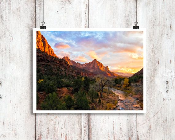 The Virgin River flows past the red spire, the Watchman, at sunset, in Zion National Park, Utah. This image has won multiple international juried photography awards, was featured in Spirit Magazine (Southwest Airlines Magazine); and was chosen by Documentary Filmmaker Ken Burns as the Grand Prize Winner out of 9,000+ entries in an International Juried Photography contest. One of my favorite images in one of my favorite places! If you havent been you must go!  TITLE: The Watchman  SIZES…