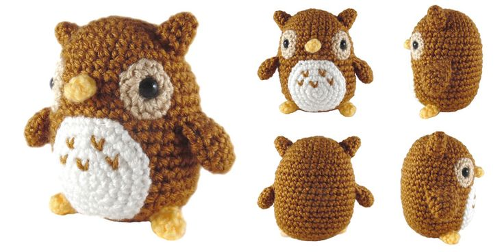 """A 4"""" tall amigurumi of a little owl. The pattern is available on  Ravelry  or you can find it written below. If you have any questi..."""