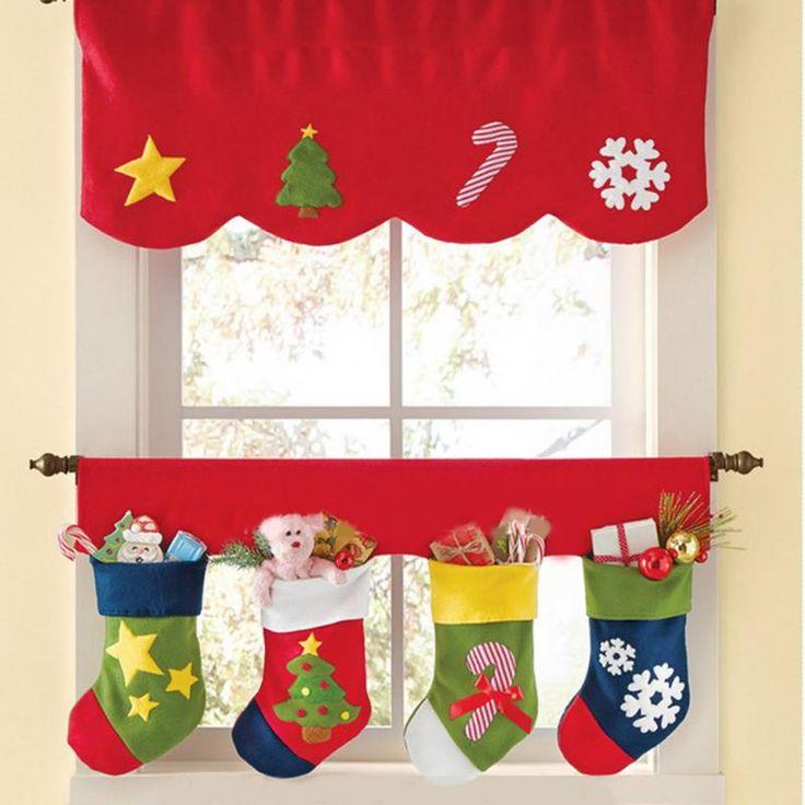 2pcs/set Christmas Stockings Decoration Door Window Curtain Decor Pendant Bunting Valance -OH