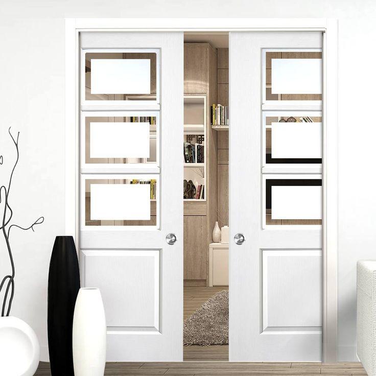 Andorra White Double Pocket Doors - Etched Glass - Lifestyle Image.    #glazeddoors #slidingdoors