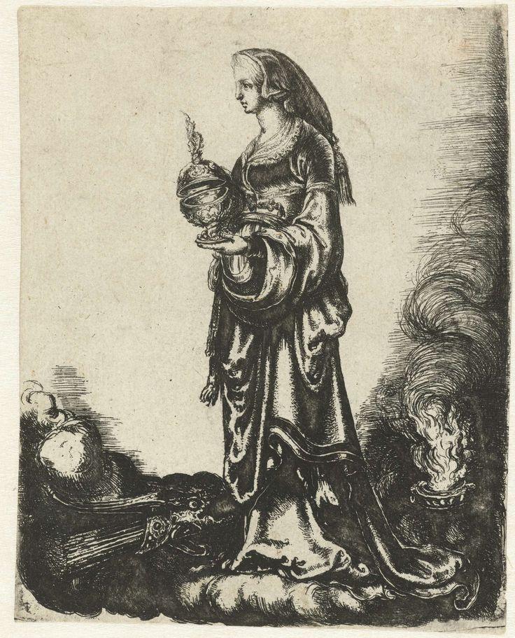 anoniem | Allegorie met vrouw met beker staand op wolk, attributed to Adam Elsheimer, 1595 - 1599 | Allegorie met vrouw staand op een wolk met een beker met deksel in haar hand. Rechts naast haar brand een fakkel. Links naast haar ligt een bundel pijlen en een boog.