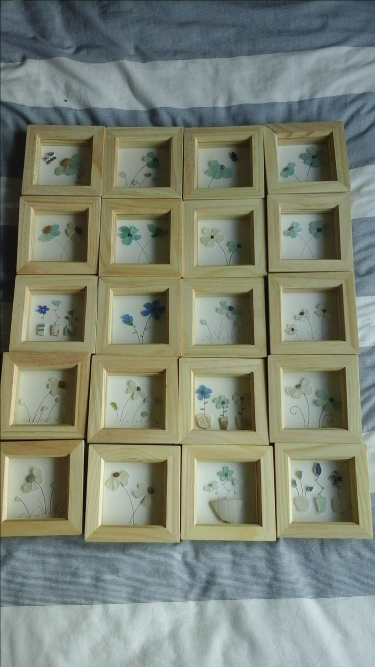 This was all one order - sea glass and sea pottery flowers.