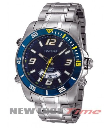 Relógio TECHNOS Skydiver Digi-Ana T200AA/1A Relojoaria New Look Time - Diâmetro da caixa : 4,5 cm - Diâmetro do visor : 3,4 cm - Espessura da caixa : 1,15 cm