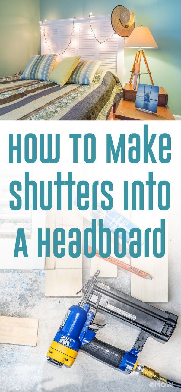 Whether you would like to create a beach motif or design a shabby chic farmhouse-style bedroom, a headboard made from old shutters is an easy way to add a repurposed treasure to your bedroom. Now you can get that Pottery Barn look for less than $150, thanks to this DIY shutter headboard.  http://www.ehow.com/how_5796020_make-headboard-out-old-shutters.html?utm_source=pinterest.com&utm_medium=referral&utm_content=freestyle&utm_campaign=fanpage