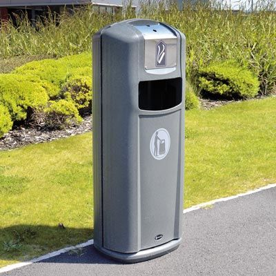 The Integro City™ outdoor litter bin manages general and cigarette waste in one piece of external street furniture. #GlasdonUK #ExternalLitter #Bins #CigaretteBin #CigaretteDisposal