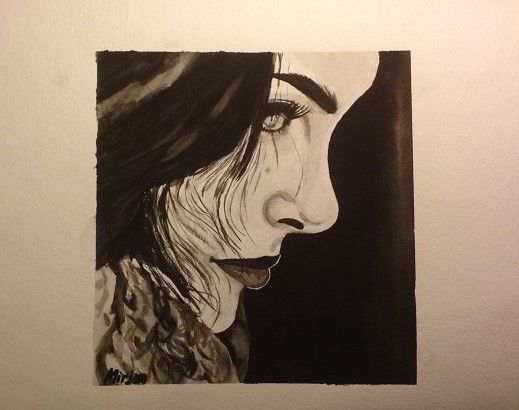 Black and white. Woman's face watercolor/aquarell painting. Facebook page: Mirjam's Art https://www.facebook.com/152757271491447/photos/a.569795063120997.1073741826.152757271491447/578946455539191/?type=1&theater