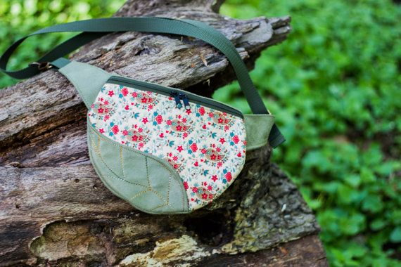 Army Green Leafl Fanny Pack Small Hip Bag made by LeaflingBags