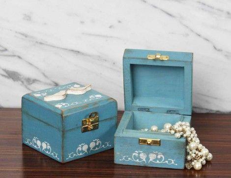 Distressed Turquoise Jewelry Box