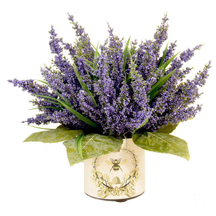 Creative Displays, Inc. Spring Additions Lavender Heather in Decoupage Pot & Reviews   Wayfair