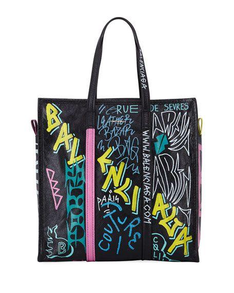 Bazar Medium Graffiti-Print Leather Shopper Tote Bag by Balenciaga at Neiman  Marcus f2ccfb4694