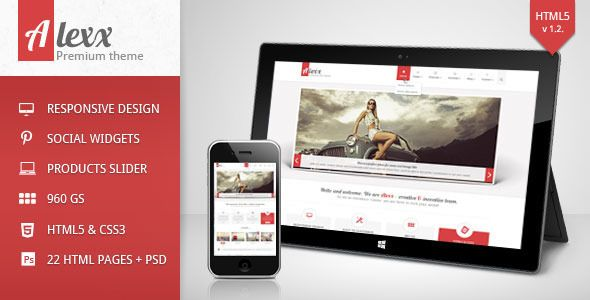 Alexx is multipurpose responsive and clean HTML5 theme. It is based on 960 GS by Nathan Smith which is included in a shape of a layer in PSD files which are also included in the download file.