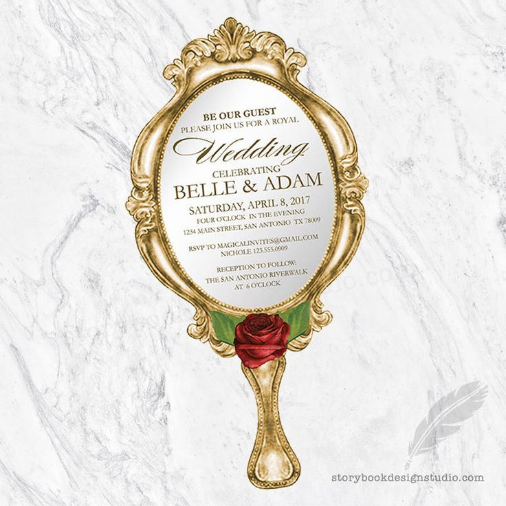 Beauty And The Beast Wedding Invitations Cut Hand Mirror Printed