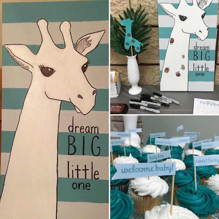 Giraffe/jungle themed baby shower with teal and grey. I painted the giraffe, and guests added their thumbprints. I didn't get a picture of the finished project but it looked great!