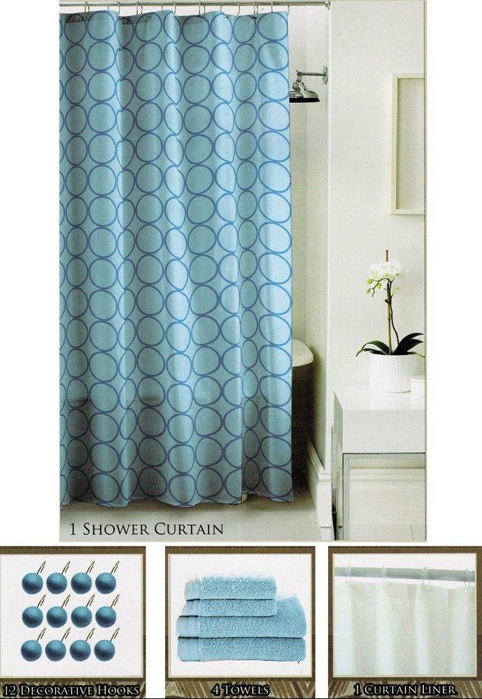 shower curtain sets 18 pc   18-PIECE SHOWER CURTAIN u0026 BATH TOWEL SET -