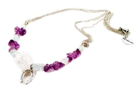 Aquamarine, amethyst, calcedony and horseshoe charm choker necklace. Perfect for parties, summer time and gift for her.